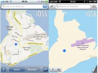 Antes e depois: troca do Google Maps por aplicativo da Apple piorou mapas do iPhone
