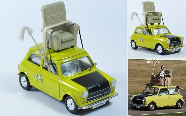 Mini Cooper do Mr. Bean feito por George Tutumi. No detalhe, o personagem dirigindo o carro