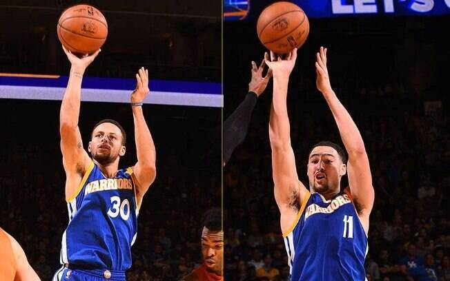 Stephen Curry e Klay Thompson, os Splash Brothers, fizeram 30 pontos cada