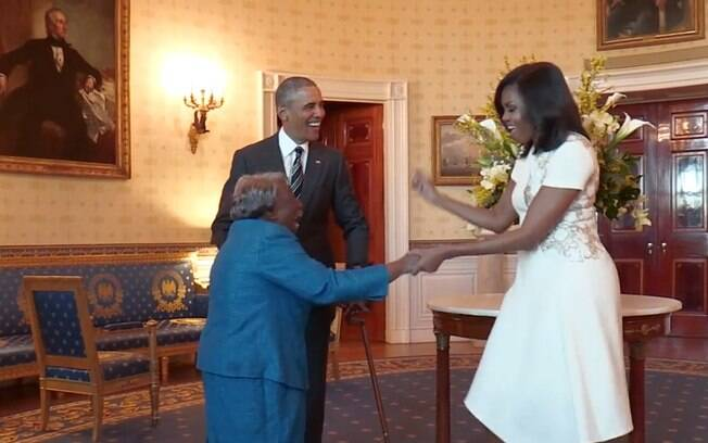 Virginia McLaurin dança com Barack Obama e Michelle Obama