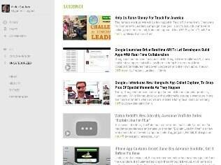 Feedly, sucessor não oficial do Google Reader, permite ver feeds de RSS em forma de lista ou revista