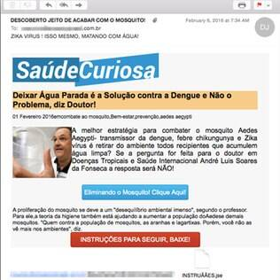 Links do spam malicioso levam a um arquivo hospedado no Dropbox