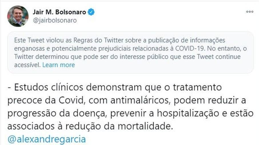 Captura de tela do tuíte do presidente Jair Bolsonaro