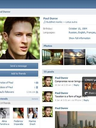 Perfil de Pavel Dúrov na Vkontakte: layout idêntico ao do Facebook