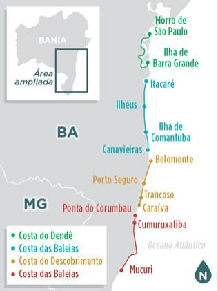 Localize-se na rota do Sul da Bahia