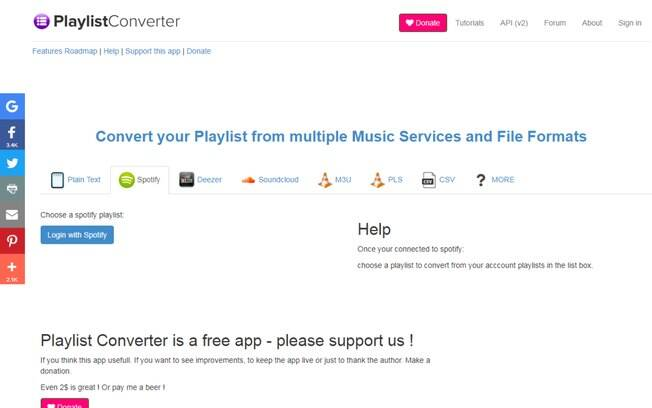 tela inicial do Playlist Converter